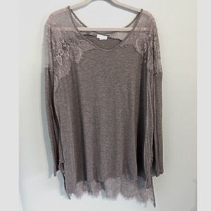 Me & U Lace Tunic Top Gray 3X Stretch High Low